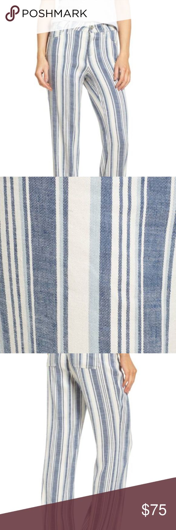 NWT  NYDJ Wylie Stripe Linen Blend Trousers 16 Wide-cut legs and variegated vertical stripes add up to figure-elongating style for five-pocket pants fashioned from a stretch-woven linen blend. Of course, NYDJ's exclusive lift-tuck technology helps to flatten the tummy and lift the rear to further the flattery. Zip fly with button closure Five-pocket style 56% linen, 42% viscose, 2% elastane Machine wash, line dry Imported Point of View Item #5346364 NYDJ Pants Trousers