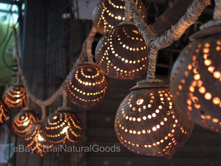 Wooden Hanging Lamp Coconut Shell Night Light Chandelier Home Decor Handmade | eBay