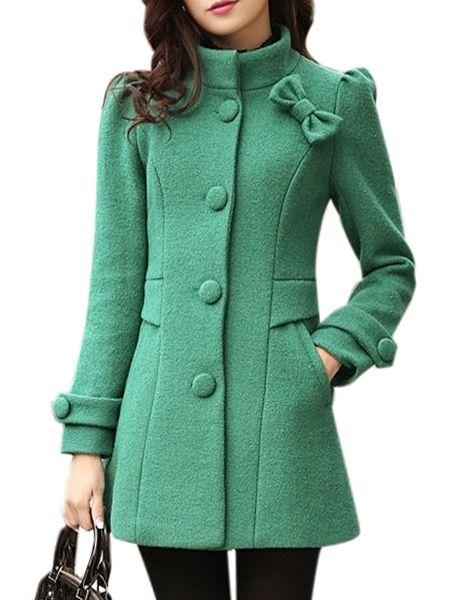 Fabulous Bowknot With Pockets Overcoats Overcoats from fashionmia.com