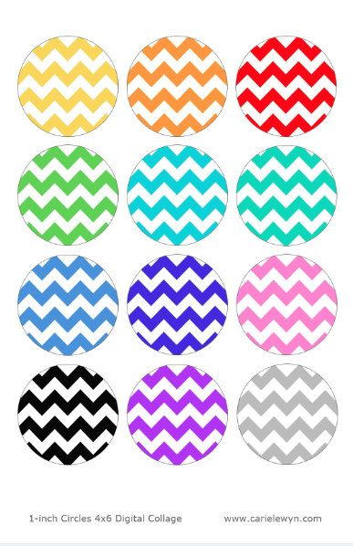 Instant Download - Chevron Zig Zag Pattern Design Bottlecap Images / Rainbow colors / Digital Collage Printable 1-Inch Circles