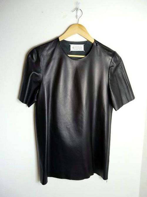 Maison Martin Margiela mens leather fronted t-shirt. WANT.