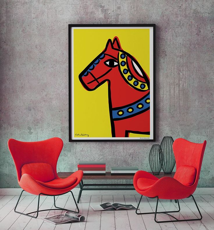 Dalahorse Poster 70 x 100 cm. By Cecilia Waxberg Design.  This is what my Dalahorse looks like. As clumsy, stiff and bold as the traditional Swedish wooden horse, Dalahästen, but my is more curious and friendly.