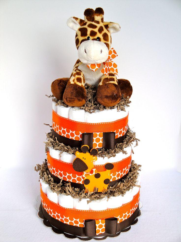 Baby Diaper Cake - Giraffe Theme Orange & Brown Baby Diaper Cake Centerpiece - 3 Tier - Shower Decoration and Gift. $75.00, via Etsy.