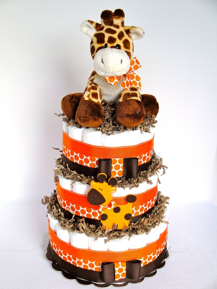 Baby diaper cake giraffe theme orange brown baby for Baby shower decoration diaper cake
