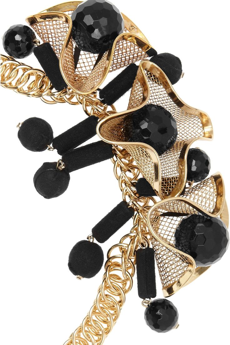 Marni  Beaded brass floral necklace