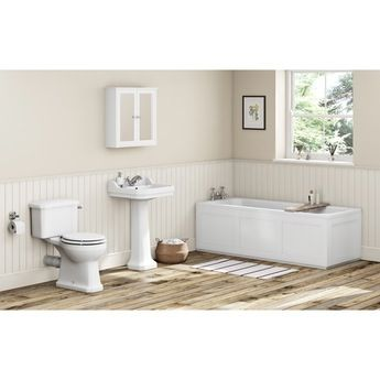 The Bath Co. Camberley white bathroom suite with straight bath 1700 x 700
