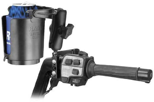 2 RAM Mounts (RAM-B-174-132) Combination Brake/Clutch Reservoir U-Bolt Mount with Self-Leveling Cu  >> The 10 Best Motorcycle Cup Holders For Bikers