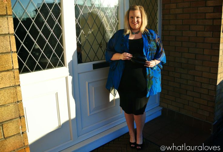Scarlett and Jo Multicoloured Floral Kimono with Black Dress from Evans