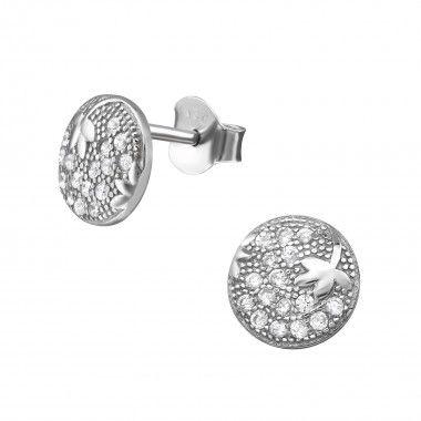 Ronde zilveren oorstekers met vallend blaadje en zirconia kristallen.