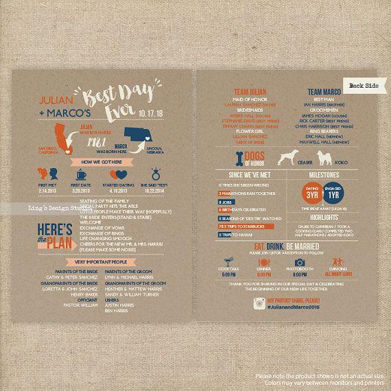 Infographic Wedding Program/ Kraft Background Infographic Wedding Program  | Printable or Printed