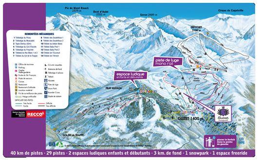 Plan des pistes   Station de ski Guzet   Altiservice - Météo Webcams et Forfaits ski Pyrénées