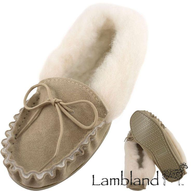 Lambland Ladies Sheepskin Suede Moccasin Slippers With Hard Wearing Sole - Beige