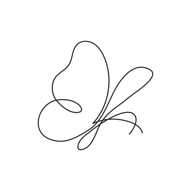 Encontre vetores stock de Butterfly continuous line drawing element isolated on … – Ellie Jim