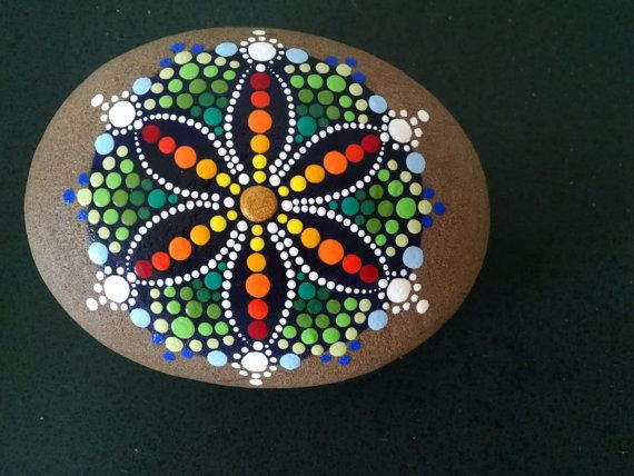 Large Beach Stone Hand Painted ~ Rainbow Dot Art Painted Rock ~ Mandala Flower ~ Unique Home Decor Ornaments ~ Gift Ideas