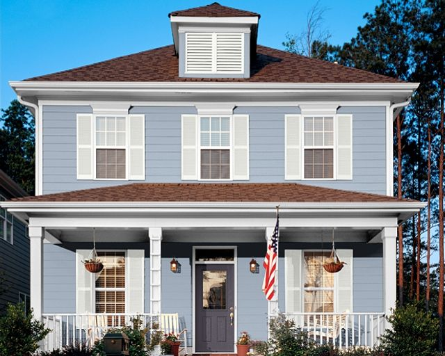 Sky Blue House White Trim Grey Blue Door Brown Roof