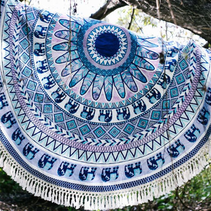 Beach Holiday Gym Camping Summer Fashion Bath Round Cover Up Versatile Print Tassel Sports Blanket Towels