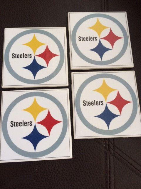 Steelers NFL Coasters (Pick your favorite team).  Jaguars, Steelers, Ravens, Broncos, Colts, Patriots, Bengals, Browns, Jets, Bears, Bills by TheKristKorner on Etsy https://www.etsy.com/listing/253216881/steelers-nfl-coasters-pick-your-favorite