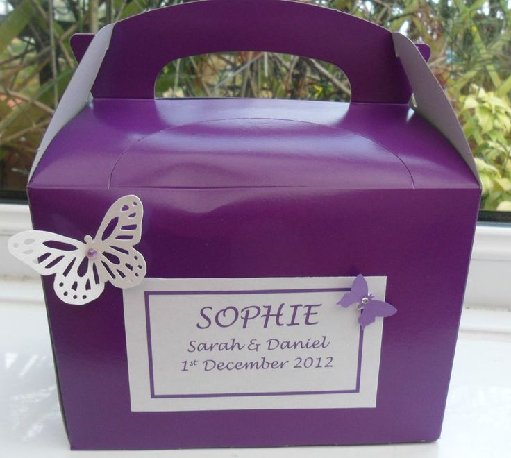 Personalised Childrens Wedding Activity Party Box Bridesmaid Page Boy PURPLE