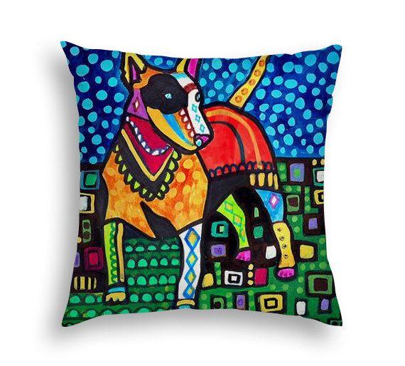 Miniature Bull Terrier Art Pillow - Mini Bull Terrier Lovers Gift Dog Art by Heather Galler - 5 sizes to choose from