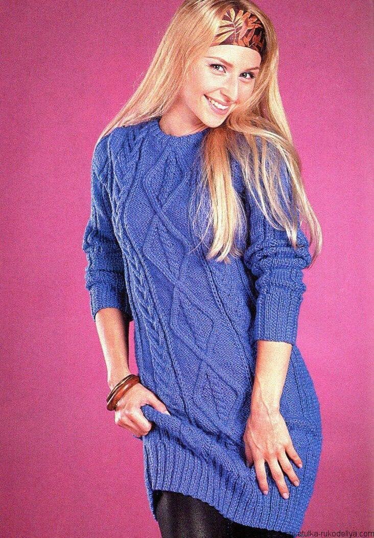 Синее платье спицами с узором из ромбов. Женское теплое платье спицами с описанием