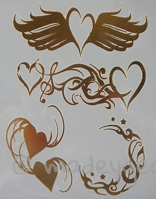 GT16--Temporary Flash Gold Jewelry Tattoo- Heart and Music Wings
