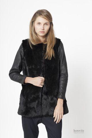 black rabbit coat with leather sleeves – horovitz