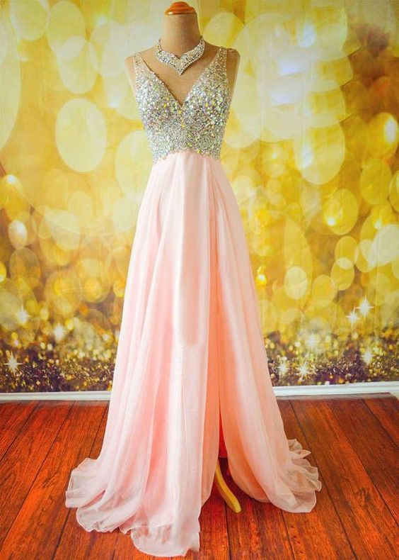 A-line chiffon (with slit on the side) pink evening dress.