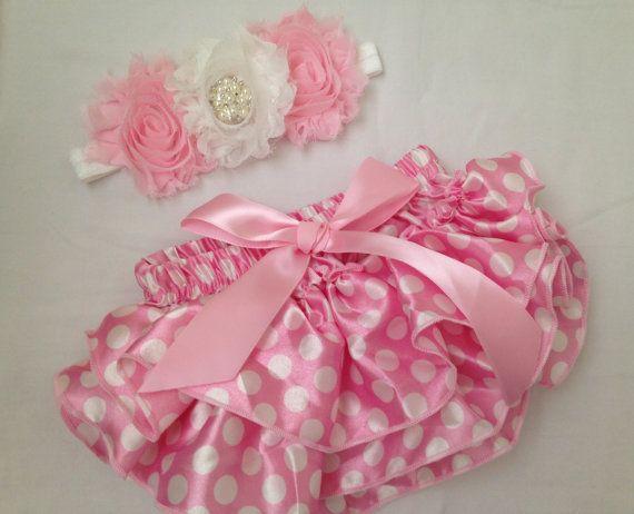 Rosa bebé / blanca bloomer raso y diadema conjunto - Baby bloomer satén rosado - Bebé recién nacido rhinestone rosa diadema