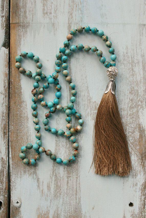 Beaded Tassel Necklace, Long Boho Necklace, Statement Beaded Necklace, Semi Precious Gemstone Beads, Handmade Boho Jewelry, Hand Knotted
