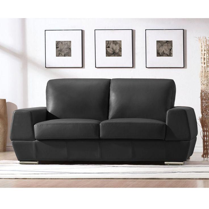 Kanton Apartment Loveseat   Black Leather