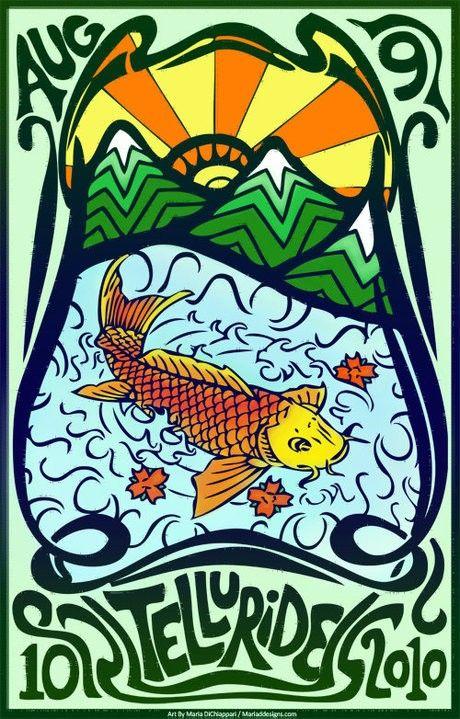 Original concert lot poster for PHISH in TELLURIDE, COLORADO 2010. 11x17 card stock. Artist Maria DiChiappari. Made with love!!
