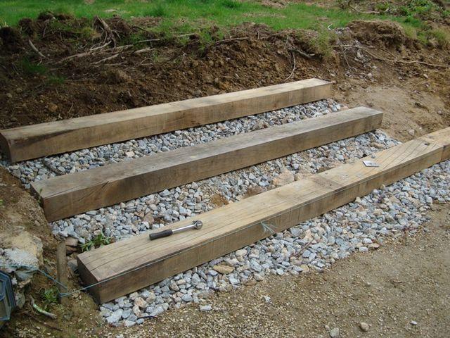 Pose De La Traverse En 2020 Traverses Jardin Traverse Chemin De Fer Escalier De Jardin