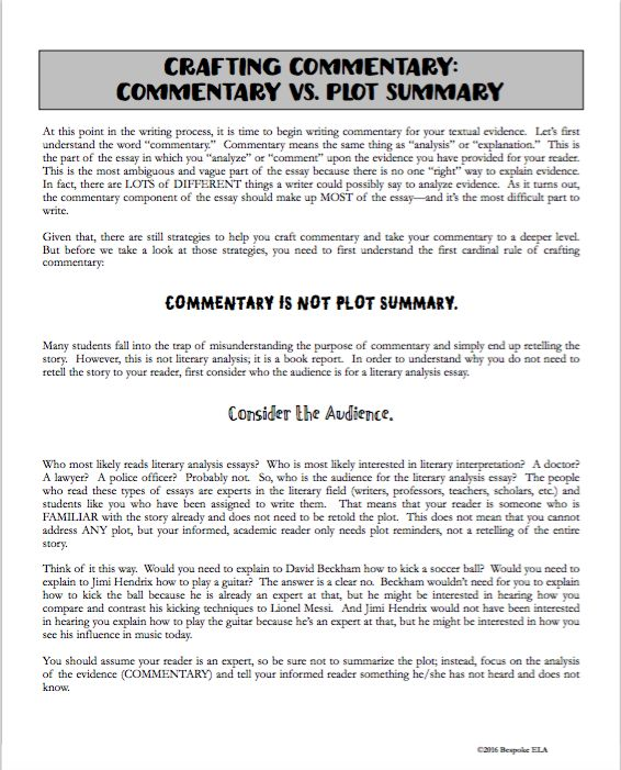 how to write a commentary review