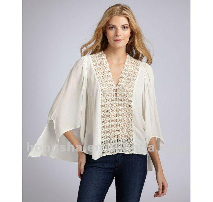 los modelos de blusas de tela para las mujeres hsb024-Mujer Blusas ...