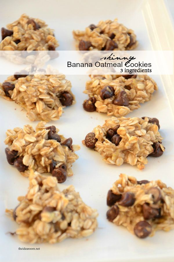 Gluten Free (with certified GF oats) Skinny Banana Oatmeal Cookies! Eat a treat without feeling guilty. Diet friendly cookie recipe.