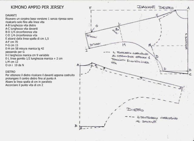 I Quaderni di Studio Manie: REGOLE COSTRUZIONE MANICA A KIMONO AMPIO