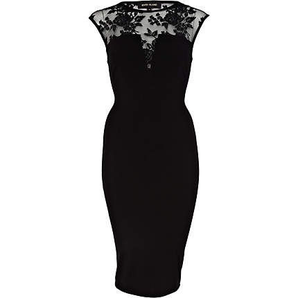 Black Lace Midi Dress River Island