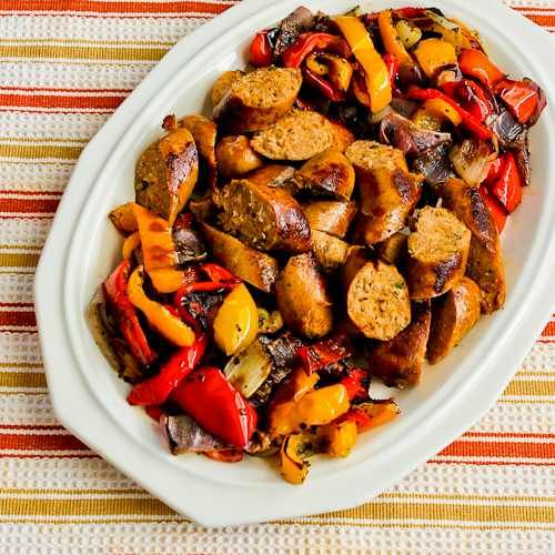 Low Carb Roasted Italian Sausage And Sweet Mini Peppers Sheet Pan Meal Easy Recipes Sausage