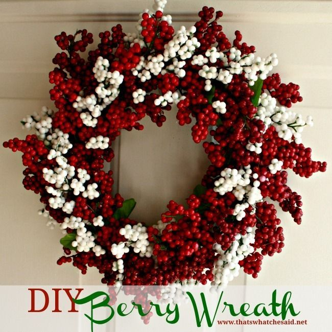 DIY Berry Wreath!  Made from Dollar Store Supplies! #Homedecor #wreath #Crafting (directions)