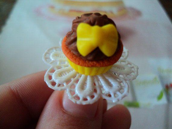 miniature food cupcake bow ring polymer clay fimo by EVELjewlery