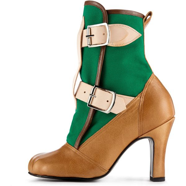 Bondage Boot Green/Tan ($625) ❤ liked on Polyvore featuring shoes, boots, buckle boots, lace up shoes, leather lace up boots, laced up boots and tan lace up boots