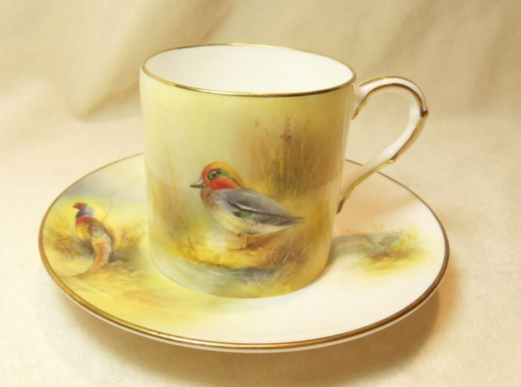 Hand painted Royal Worcester cup and saucer: