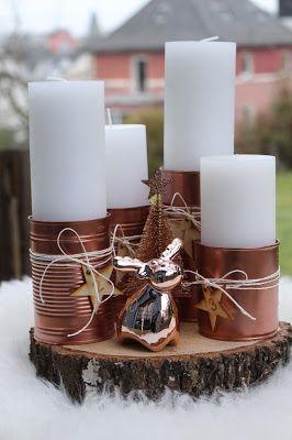 Adventskranz mal anders mit Blechdosen, Elch, Sternen Wood Veneer