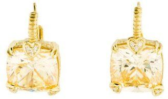 Judith Ripka 18K Canary Crystal & Diamond Earrings