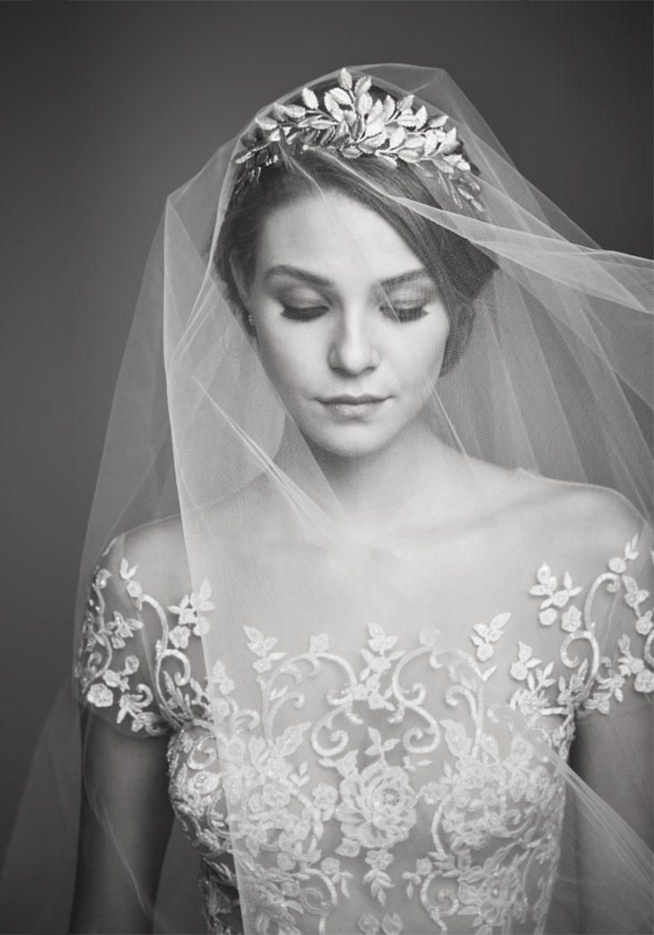 Reem Acra Wedding Dress and Ariel Taub Veil