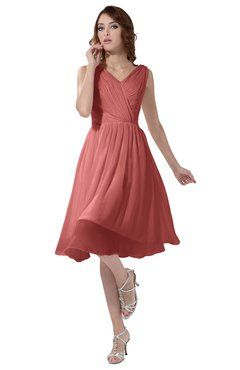 b1befdd2da ColsBM Alexis Lantana Simple A-line V-neck Zipper Knee Length Ruching Party  Dresses