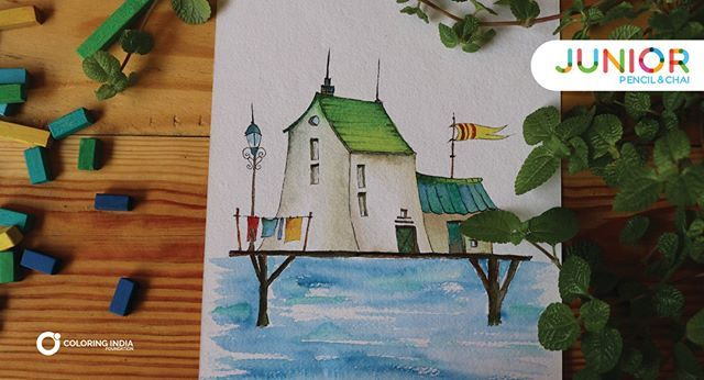 Beach House Watercolor Painting Jr Pencilandchai Learn Http Bit
