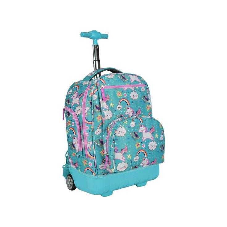 Pacific Gear Treasureland Hybrid Lightweight Rolling Backpack - Unicorn,