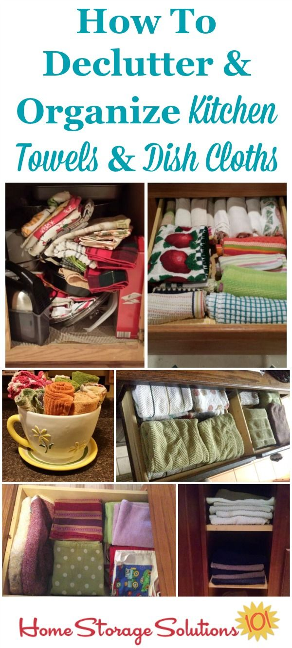 How to declutter and organize kitchen towels and dish cloths, with lots of pictures from real people who've done this #Declutter365 mission {on Home Storage Solutions 101}