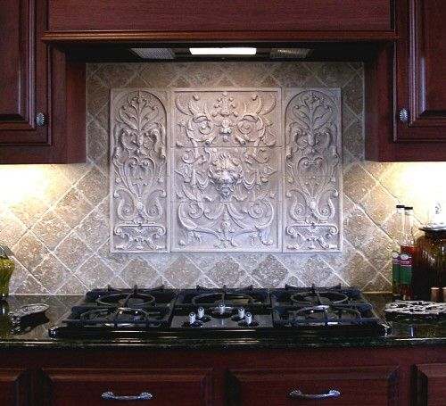 Decorative tile backsplash over stove custom made lion - Decorative tile for backsplash in kitchens ...